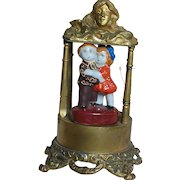 Art Nouveau Time Piece Metal Case with Japan Figurines