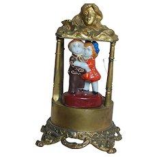 Art Nouveau Time Piece Metal Case with Japan Figurines