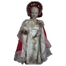 Antique Religious Figure Wood Pegged Infant Jesus  Articulated  Glass Eyes 1700s