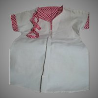 Antique Doll Dress White Cotton with Red Print Trim. Matching belt early 1900s