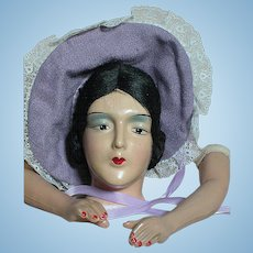 Boudoir Doll Head and Arms  Composition Head with Hat  No body   1920s