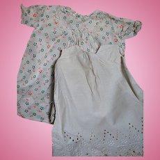 Vintage Print Cotton Doll Dress Lace Trim and a Slip
