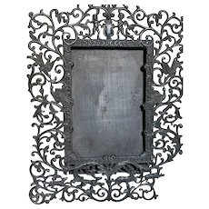 Vintage Black Metal Filigree Picture Frame  Decorated with Cherubs  Dogs Deer and Birds