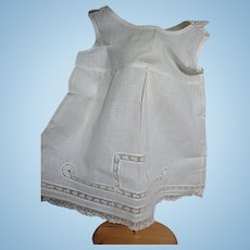 Antique White Cotton Doll Slip with Lace Insert Designs   17 Inches  Long