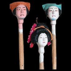 Three Asian Japanese Doll Heads Mounted On Wood  Glass Eye  2 Male 1 Geisha