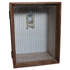 Vintage Wood & Glass Display Room Box  Wallpapered  Walls and floor With hanging Picture