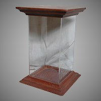 Vintage Display Case   Tall With  Wood Top & Bottom