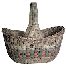 Large Woven Wicker Gathering Basket  Green, Natural  and Light Orange  Colors with Handle