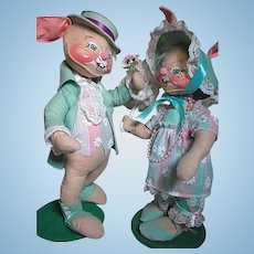 Large Annalee Rabbits Mr. and Misses Easter Rabbits Vintage with Stands