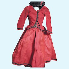 Antique French Fashion Red Dress with Black Trim and Matching Hat