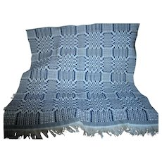 Small Loomed Coverlet  Blue and White Intricate Design