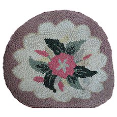 Vintage Hooked Chair Pad or Small Rug  With  a Flower design