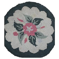 Vintage Hooked Chair Pad or Small Rug  With  a Flower design  Black Border