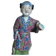 Antique Chinese Rose Famille Female Figurine Removeable Hand Incised Mark