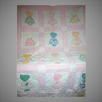 "Vintage Sunbonnet Sue Childs Crib Quilt   Pink & White   54"" X 34"""