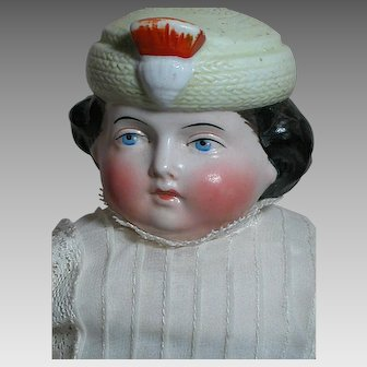 Rare Parian Bonnet Hatted  Doll Slightly Turned Head  Cloth Body  12""