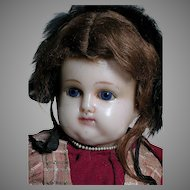 Antique  Heavy Wax-Over  Lady  Doll   Sleep eyes  Original  Outfit