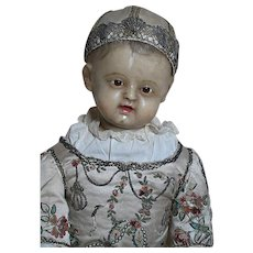 Antique Poured Wax Baby All Original  Glass eyes  Made to Sit