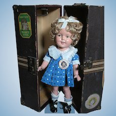 Composition Shirley Temple Doll in Original Trunk wearing Rare Dress