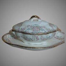 Ridgways Semi Porcelain Rhodesia Childrens Oblong Covered Bowl & Platter England 1905+