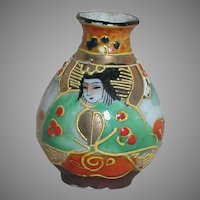 Vintage Dollhouse Miniature Japan Moriage Vase With Geisha Girl Face 2""