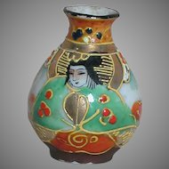 "Vintage Dollhouse Miniature Japan Moriage Vase With Geisha Girl Face 2"""