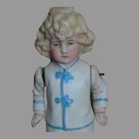 German All Bisque Molded Outfit  Blonde Molded Hair  Wire Jointed