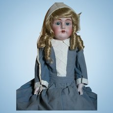 Beautiful Early Kestner German Shoulder head Doll # 154  Kid Body with Old Clothes