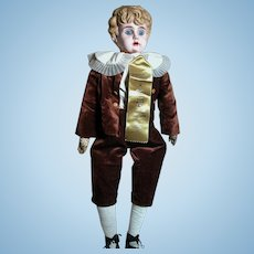 Antique German Minerva Doll  Tin Head Glass Eyes Dressed as Boy  23""