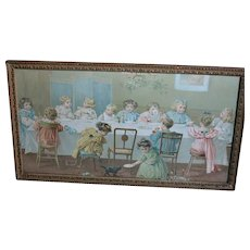Old Gold Gilt Carved Wood Framed Picture of Children at Party