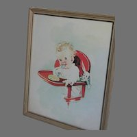 Florence  A Kroger Framed Picture  Print of Baby in High Chair