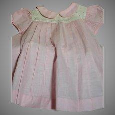 Pink Cotton Doll Dress White Cotton  Trim