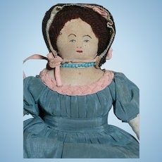 """Small Cloth Doll with Black Straw Bonnet and Blue Silk Dress  8"""""""
