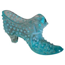 Blue Glass Shoe Opalescent Fenton figure of Cat on the Front