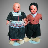 Two Composition Cloth  Ethnic Dolls  Original Outfits 10""