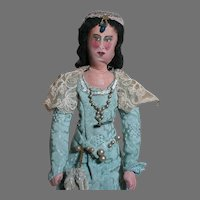 Early Handmade Cloth Lady Doll Oil Painted Features