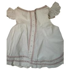 Antique  Cotton Print Child's Dress Cotton Print  Puffed Sleeves