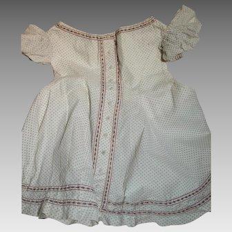 Antique  Cotton Print Child's Dress Cotton Print  Puffed Sleeves