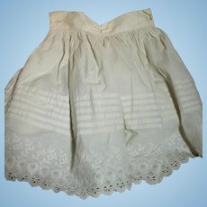 White Cotton Doll Slip Large with Pleats & Embroidery