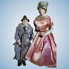 FDR & Eleanor Roosevelt Dolls Ribbon Winner in Carthage Fair 30-40s