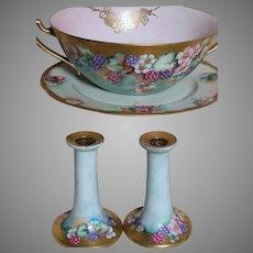 Limoges B & C France L. Bernardaud & Co. Bowl with Handles & Candle Sticks & Platter