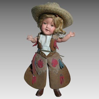 "Ideal Composition Shirley Temple Doll 11"" Cowboy Outfit"