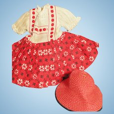 Ideal Shirley Temple Tagged Dress & Hat for 1950s  Shirley