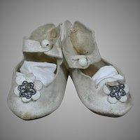 Antique Original French Bebe Doll Shoes White Leather size 9