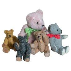 5 Miniature Dollhouse Teddy Bears  Jointed Well Made