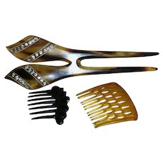 3 Hair Combs Celluloid faux tortoiseshell with Rhinestones & two Small Combs