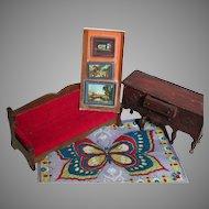 Vintage Dollhouse Wood Furniture Pictures & Rug