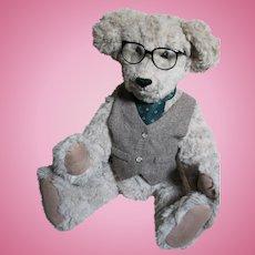 Artist Teddy Bear  Mohair Old Professor Teddy bear   with Glasses