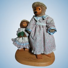 Raikes Bears on Wood stand Lucille & Daphne