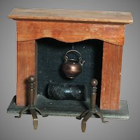 Vintage Dollhouse Miniature Fireplace with Log Kettle and Andirons
